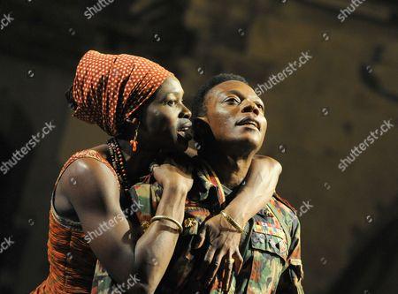 'Welcome to Thebes' - Rakie Ayola (Pergeia) and Chuk Iwuji (Prince Tydeus)