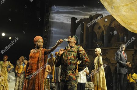 'Welcome to Thebes' - Rakie Ayola (Pergeia), Chuk Iwuji (Prince Tydeus), Nikki Amuka-Bird (Eurydice) and David Harewood (Theseus)