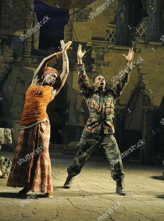 'Welcome to Thebes' - Rakie Ayola (Pargeia) and Chuk Iwuji (Prince Tydeus)