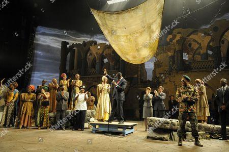 'Welcome to Thebes' - Nikki Amuka-Bird (Eurydice), David Harewood (Theseus) and Chuk Iwuji (Prince Tydeus)