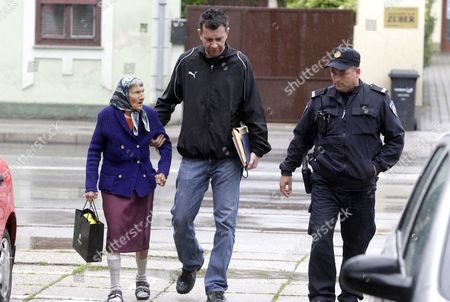 Alleged murderer 86-year-old woman Alojzija Pokrivac on her way to the court house in Varazdin