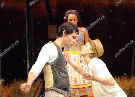 Christian Camargo (Orlando), Michelle Beck (Celia) and Juliet Rylance (Rosalind)