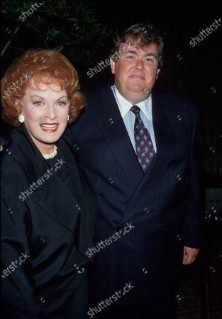 Actors Maureen O'Hara and John Candy.