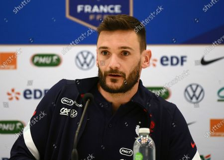 France's goalkeeper Hugo Lloris speaks during a press conference in Clairefontaine, outskirts of Paris, on the eve of the international friendly match between France and Wales