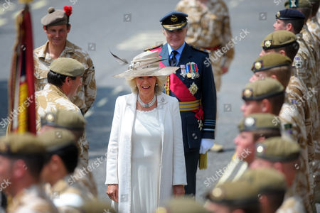 Camilla, Duchess of Cornwall inspects the troops of the 11 Light Brigade with Sir Jock Stirrup, Chief of the Defence Staff