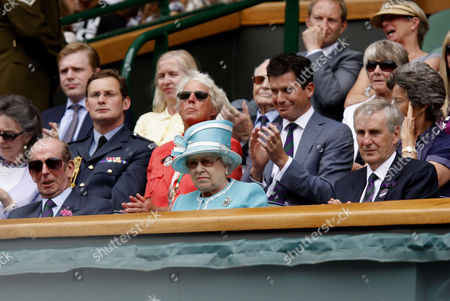 Duke of Kent, Queen Elizabeth II, Tim Phillips the Chairman of The All England Lawn Tennis Club, Ann Haydon-Jones, Tim Henman and Virginia Wade