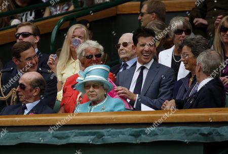 Duke of Kent, Queen Elizabeth II, Tim Phillips the Chairman of The All England Lawn Tennis Club, Ann Haydon-Jones with Tim Henman and Virginia Wade