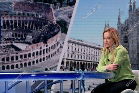 President of Italian party Fratelli d'Italia (FdI) Giorgia Meloni attends the Italian Rai 1 TV program 'Porta a Porta' (lit.: Door-to-door) hosted by Italian journalist Bruno Vespa (unseen), in Rome, Italy, 01 June 2021.