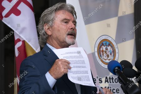 Stock Photo of Montgomery County State's Attorney John McCarthy speaks during a news conference outside of the Circuit Courthouse in Rockville Md