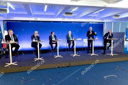 Stock Image of Frederic Pierucci, a guest, Christian Jacob, Daniel Fasquelle, Michel Barnier and Julien Aubert.