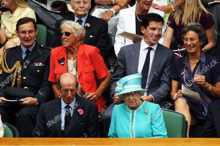 RAF officer with Ann Haydon-Jones, Tim Henman, Virginia Wade (top) and the Duke of Kent with Queen Elizabeth II