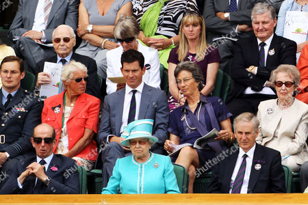 RAF officer with Ann Haydon-Jones, Tim Henman, Virginia Wade (top) and the Duke of Kent with Queen Elizabeth II and Tim Phillips the Chairman of The All England Lawn Tennis Club