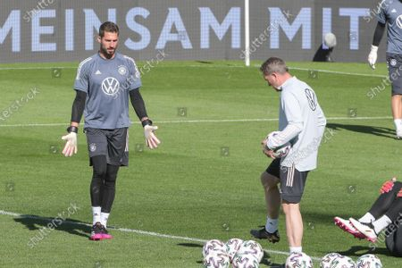 Goalkeeper Kevin Trapp (Germany #22) with goalkeeper coach Andreas Köpke (Germany), training German national team, DFB, European Championship