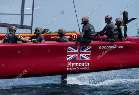 Stock Image of Great Britain SailGP Team helmed by interim skipper Paul Goodison in action during a practice session ahead of Italy SailGP, Event 2, Season 2 in Taranto, Italy.