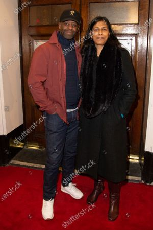 Adrian Lester and Lolita Chakrabarti attends Press Night of The Upstart Crow at the GIELGUD THEATRE, SHAFTESBURY AVE 17 February 2020 in London, England.