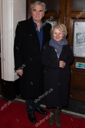 Jim Carter (L) and Imelda Staunton attend Press Night of The Upstart Crow at the GIELGUD THEATRE, SHAFTESBURY AVE 17 February 2020 in London, England.