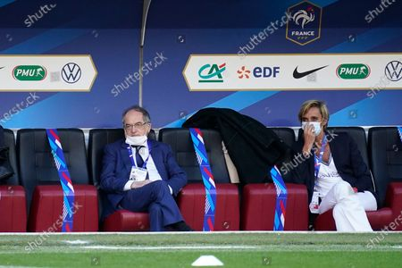 President of the French Football Federation (FFF) Noel Le Graet and Director General of the FFF Florence Hardouin
