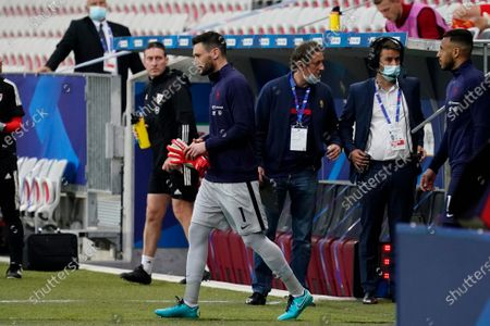 Hugo Lloris of France leads his side out for his 100th cap at captain