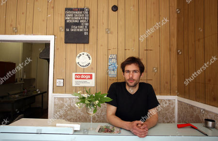 Editorial picture of Pablo Wendel and his fish and chip shop installation, London, Britain - 21 Jun 2010