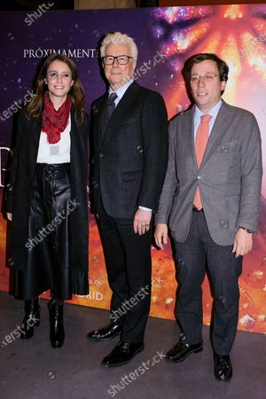 British writer Ken Follett attends the reading of his novel 'The Pillars of the Earth' accompanied by Mayor of Madrid Jose Luis Martínez-Almeida (R) and regional Minister of Culture Andrea Levy (L) in Madrid, Spain, 18 November 2019.