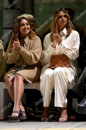 Stock Picture of Australian singer Jessica Mauboy (L) and model Samantha Harris (R) sit in the front row as they watch the First Nations Fashion + Design show within the Afterpay Australian Fashion Week (AAFW) 2021, in Sydney, New South Wales, Australia, 02 June 2021. The AAFW2021 shows are presented from 31 May until 04 June 2021.