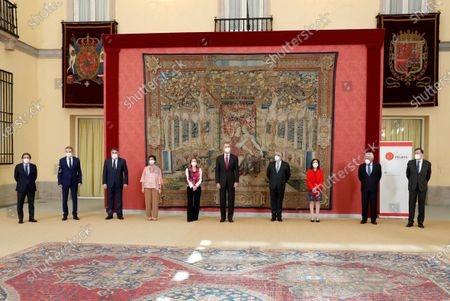 (L-R) Madrid's Mayor Jose Luis Martinez-Almeida, former Prime Minister Jose Luis Rodriguez Zapatero, Minister of Culture and Sports Jose Manuel Rodriguez Uribes, Foreign Minister Arancha Gonzalez Laya, Economy Minister Nadia Calvino, King Felipe VI of Spain, President of Elcano Institute Jose Juan Ruiz, Defense Minister Margarita Robles and former Prime Ministers Felipe Gonzalez and Mariano Rajoy pose for a photo during the annual meeting of the Royal Elcano Institute patronage in El Pardo Palace in Madrid, Spain, 02 June 2021.