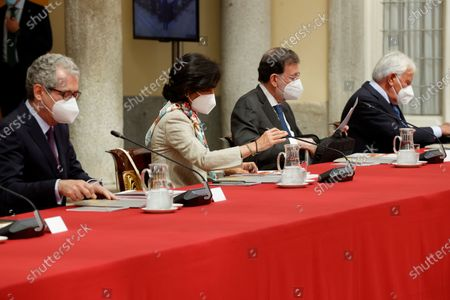 Stock Image of (L-R) CEO of Inditex Pablo Isla (L), President of Santander Bank Ana Botin and former Spanish Prime Ministers Mariano Rajoy and Felipe Gonzalez attend the annual meeting of the Royal Elcano Institute patronage in El Pardo Palace in Madrid, Spain, 02 June 2021.