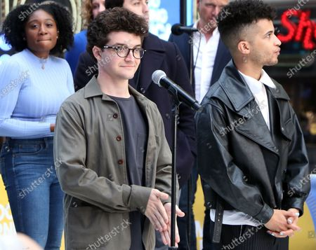 Jared Goldsmith, Jordan Fisher and the cast of Dear Evan Hansen perform on Good Morning America on Times Square