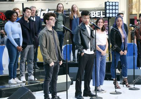 Stock Picture of Jared Goldsmith, Jordan Fisher, Gabrielle Carrubba, Phoebe Koyabe and the cast of Dear Evan Hansen perform on Good Morning America on Times Square