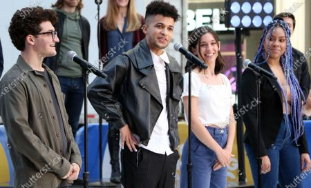 Stock Image of Jared Goldsmith, Jordan Fisher, Gabrielle Carrubba, Phoebe Koyabe and the cast of Dear Evan Hansen perform on Good Morning America on Times Square
