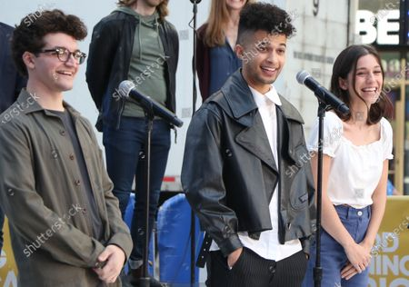 Stock Photo of Jared Goldsmith, Jordan Fisher, Gabrielle Carrubba, and the cast of Dear Evan Hansen perform on Good Morning America on Times Square