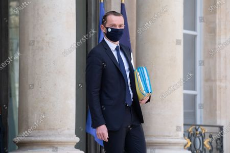 French Junior Minister of Public Action and Accounts Olivier Dussopt leaves the Elysee presidential palace after attending the weekly cabinet meeting in Paris on June 2, 2021.