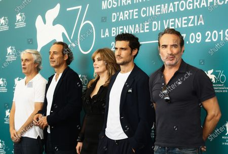 (L-R) Alain Goldman, Alexandre Desplat, Louis Garrel, Emmanuelle Seigner