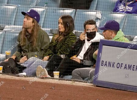 Stock Picture of Kevin Jonas and Nick Jonas at the Los Angeles Dodgers Vs The St Louis Cardinals Baseball Game