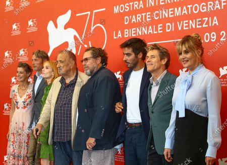 (L-R) Anne Consigny, Jon Kilik, Jean-Claude Carriere, Lolita Chammah, Benoit Delhomme, Vladimir Consigny, Mads Mikkelsen, Willem Dafoe, Louise Kugelberg, Julian Schnabel and Emmanuelle Seigner attend 'At Eternity's Gate' photocall during the 75th Venice Film Festival on September 3, 2018 in Venice, Italy.