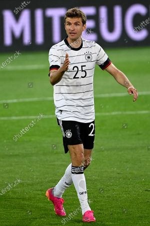 Germany's Thomas Muller gestures during the international friendly soccer match between Germany and Denmark at the Tivoli Stadion Tirol in Innsbruck, Austria