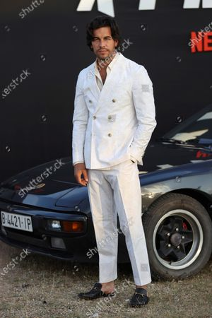 Stock Picture of Mario Casas poses for the photographers during the presentation of the film 'Xtremo' at Autocine Madrid Race drive-in movie theater, in Madrid, Spain, 02 June 2021. The movie was directed by Daniel Benmayor.