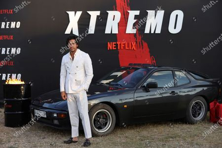 Stock Photo of Mario Casas poses for the photographers during the presentation of the film 'Xtremo' at Autocine Madrid Race drive-in movie theater, in Madrid, Spain, 02 June 2021. The movie was directed by Daniel Benmayor.