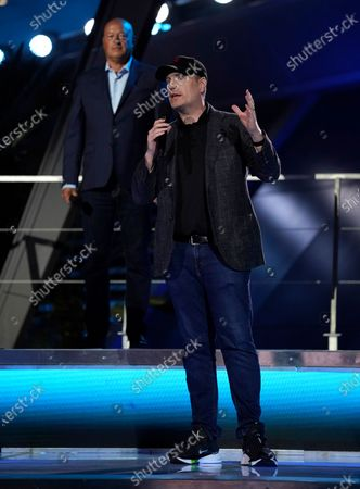 Stock Image of Marvel Studios President Kevin Feige speaks as Disney CEO Bob Chapek looks on at the Avengers Campus dedication ceremony at Disney's California Adventure Park, in Anaheim, Calif
