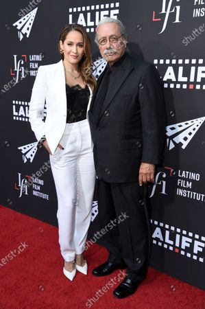 """Jaina Lee Ortiz, left, and Edward James Olmos arrive at the world premiere of """"7th & Union"""" during the Los Angeles Latino International Film Festival at the TCL Chinese Theatre on"""