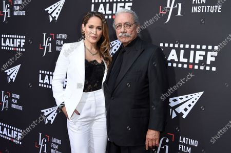 """Stock Photo of Jaina Lee Ortiz, left, and Edward James Olmos arrive at the world premiere of """"7th & Union"""" during the Los Angeles Latino International Film Festival at the TCL Chinese Theatre on"""