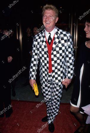 Fashion designer Nick Graham wearing black and white design suit at CFDA Awards.