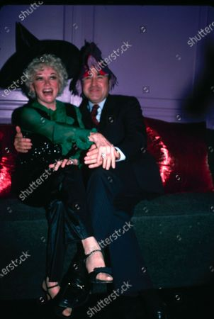 UNITED STATES - 30th October 1981: American actress and comedienne Phyllis Diller (1917 - 2012) with Dr Donald Levy during a Halloween party at Les Mouches in New York.