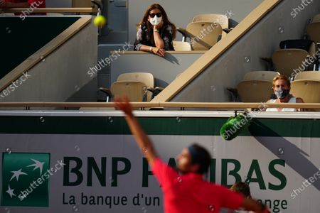 Mirka Federer watches Roger Federer in the second round