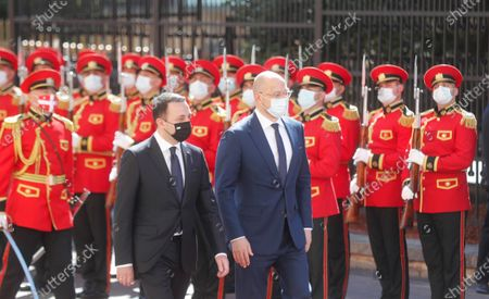 Stock Picture of Georgia's Prime Minister Irakli Garibashvili (L) inspects honor guard with his Ukrainian counterpart  Denys Shmyhal (R) during an official welcoming ceremony in Tbilisi, Georgia, 03 June 2021. Denys Shmyhal is on an official visit to Georgia.