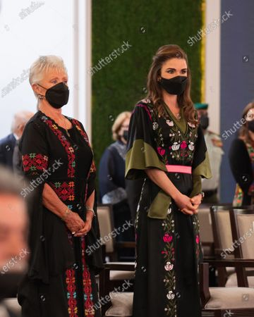 Queen Rania wearing face mask attending the 75th Independence Day of the Hashemite Kingdom of Jordan at Raghadan Palace