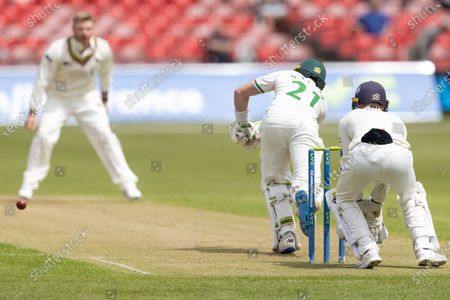 WICKET - Sam Evans is caught at short leg of Glenn Phillips during Day 1 of the LV= Insurance County Championship match between Leicestershire County Cricket Club and Gloucestershire County Cricket Club at the Uptonsteel County Ground, Leicester