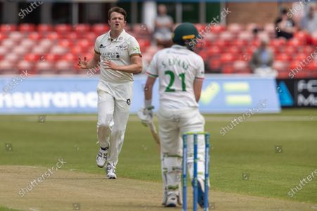 Josh Shaw beats Sam Evans during Day 1 of the LV= Insurance County Championship match between Leicestershire County Cricket Club and Gloucestershire County Cricket Club at the Uptonsteel County Ground, Leicester