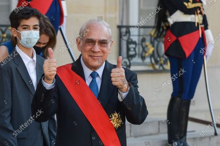 Angel Gurria outgoing Secretary General of the Organisation for Economic Cooperation and Development OECD after a ceremony to receive the Grand Croix order of the Legion of Honor decoration at Elysee Palace in Paris