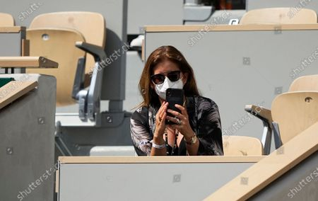 Mirka Federer wife of Switzerland's Roger Federer watches him play against Croatia's Marin Cilic during their second round match on day 5, of the French Open tennis tournament at Roland Garros in Paris, France